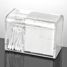 Buy Dustproof Cosmetics Organizer for Cotton Acrylic Makeup Box Organizer Storage Containers for Cosemetics Pads Holder With Lid directly from merchant!