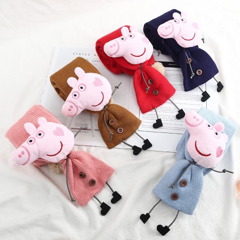 Peppa Pig Plush Doll Scarf Cute Child Scarf Autumn Winter Scarf Windproof Warm Knit Scarf Pig Peggy Child Birthday Gift