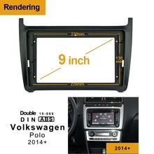 1/2Din автомобильный DVD только рамка аудио фитинг адаптер тире отделка Переходная панель 9 дюймов для Volkswagen POLO+ двойной Din радио плеер