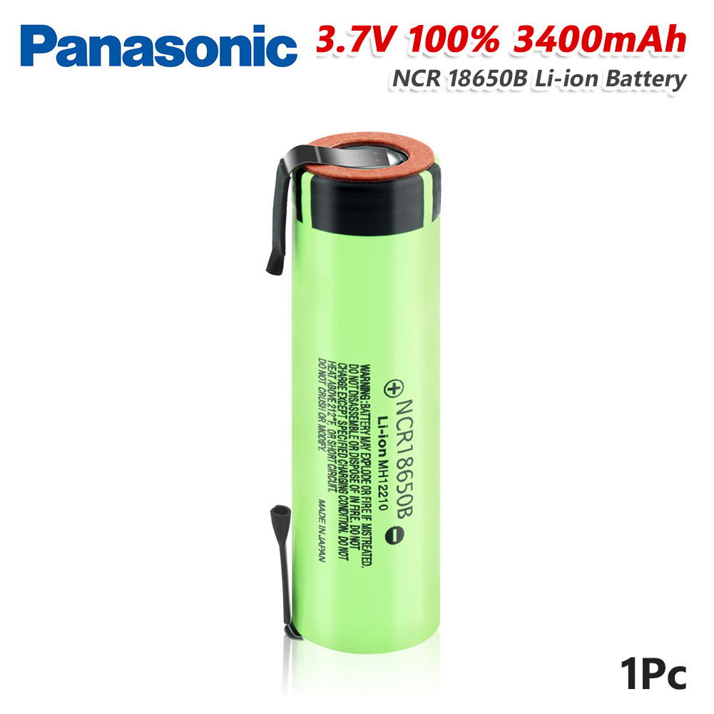 <font><b>Panasonic</b></font> 3.7V battery Flashlight batteries 3400mAh <font><b>NCR18650B</b></font> Battery With 2 Tabs High Drain 20A For Torch Vape image