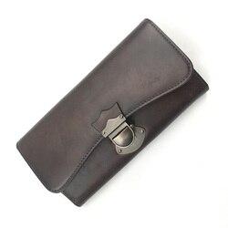 Vintage Style Echtes Leder Handmade frauen Trifold Kupplung Brieftasche Authentische Kuh Haut Weibliche Münzfach Dame Große Karte Geldbörse