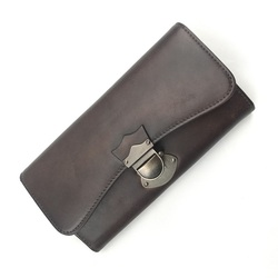 Vintage Style Genuine Leather Handmade Women's Trifold Clutch Wallet Authentic Cow Skin Female Coin Pocket Lady Large Card Purse