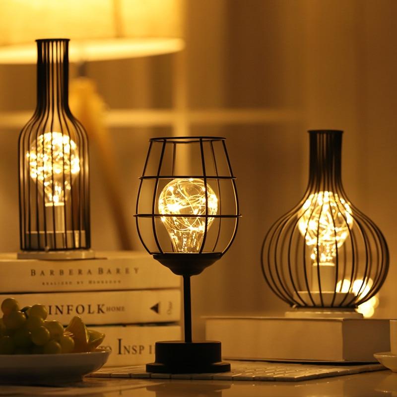 Criativo ferro forjado luz da noite lanterna garrafa de vinho tinto lâmpada led beber luz vidro para cafe hotel varanda