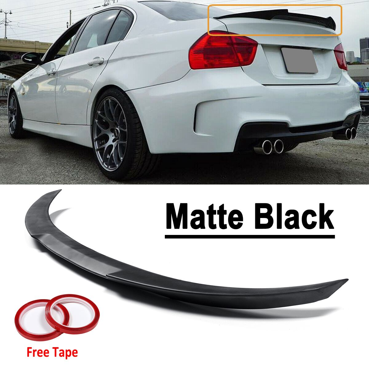 Matte Black ABS Kofferbak Spoiler Wing M4-Style Voor BMW 2006-2011 E90 3 SERIE 4 DEUR SEDAN Voor BMW 2008-12 M3 Sedan