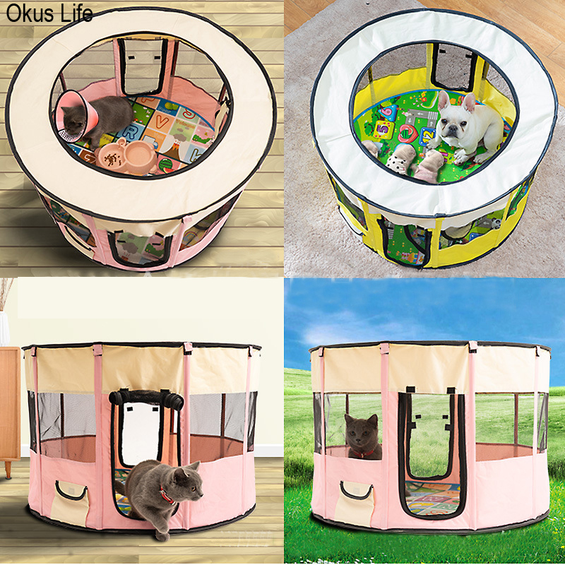 72X72X40CM <font><b>Portable</b></font> Outdoor <font><b>Kennels</b></font> Fences Pet Tent Houses Small <font><b>Dogs</b></font> Foldable Playpen Indoor Puppy Cage <font><b>Dog</b></font> Crate Delivery Room image