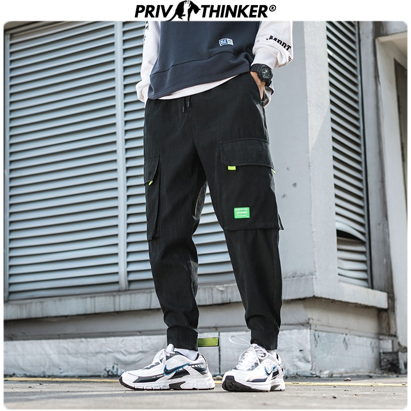 Privathinker 2020 New Men Solid Safari Style Cargo Pants Men's Hip Hop Harem Pants Joggers Streetwear Spring Male Pants Oversize