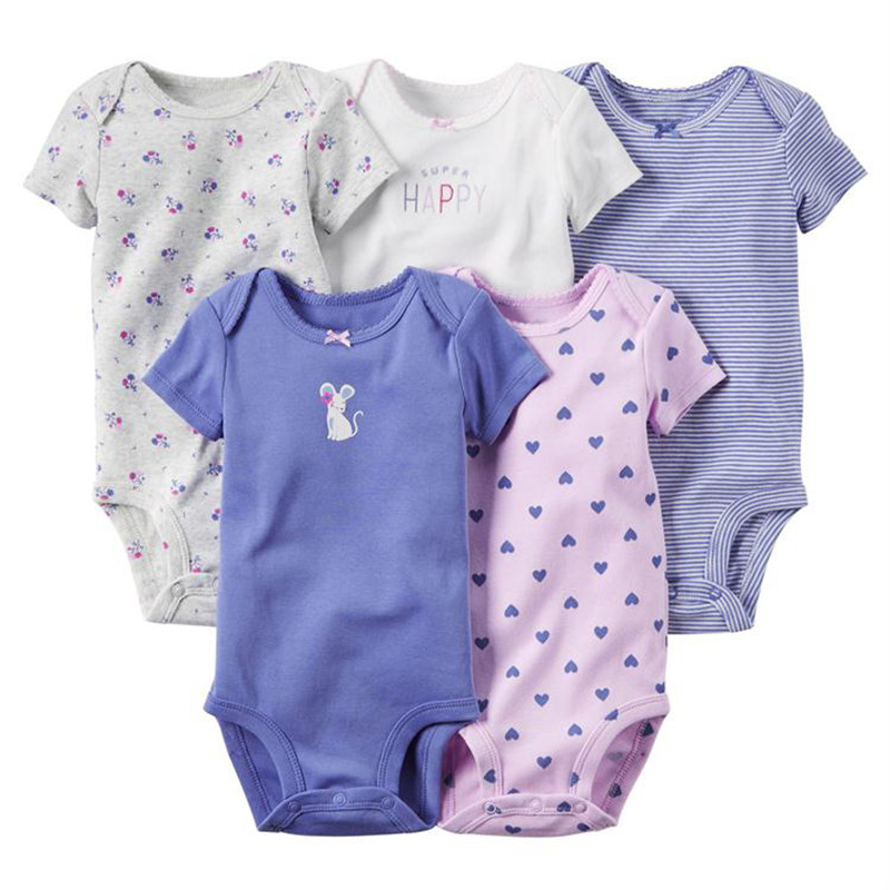 5pcs/lot 100% Cotton Baby Girl Clothes Short Sleeve Infant Bodysuits Baby Boy Clothing Set Newborn Toddler Jumpsuit Kids Roupa