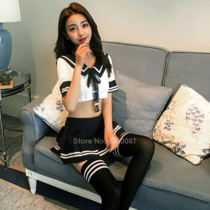 Japanese Style Student Girls Sexy School Uniform for Women Tunic Top Skirt Navy Sailor Suit Costume JK Sexy Lingerie