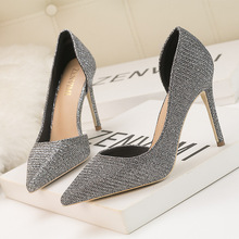 2020 New women #8217 s Thin heels super high heels shallow pointed water drill women #8217 s Shoes Lady Pumps High Heels X6X00222 cheap HKFZ Basic Microfiber Super High (8cm-up) Fashion Office Career Spring Autumn Pointed Toe Rubber Slip-On