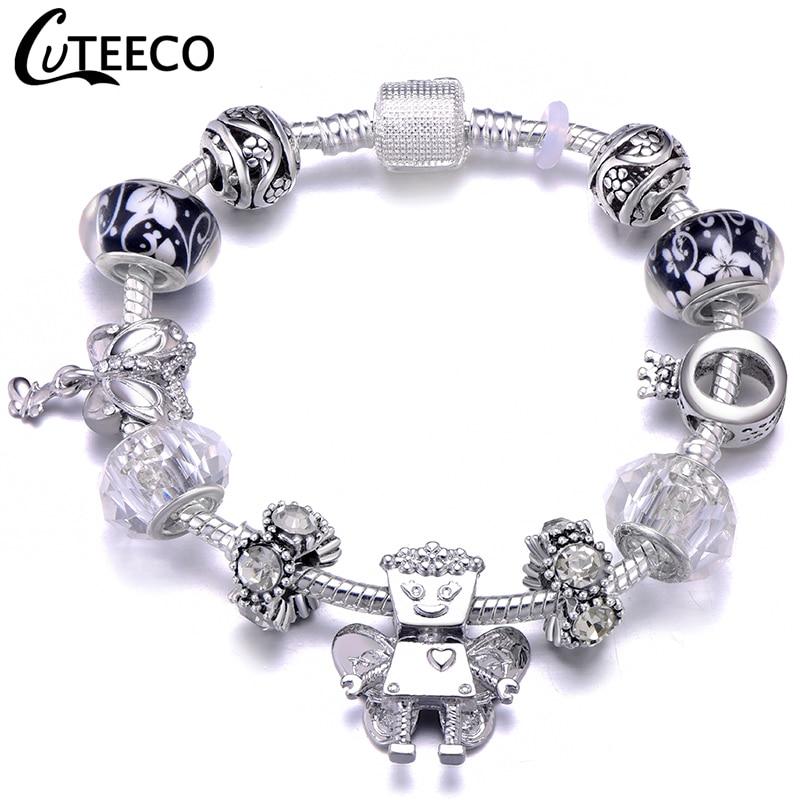 CUTEECO Европейский Любовь Сердце Шарм Браслеты и браслеты новые Марано бусины fits Дизайнерские Браслеты Женские Модные Ювелирные изделия Подарки - Окраска металла: AJ3297