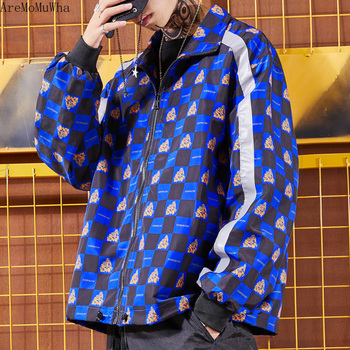 AreMoMuWha High Street Trend Reflective Plaid Windbreaker Autumn and Winter New Tide Men's Casual Long Sleeve Lapel Coat QX711