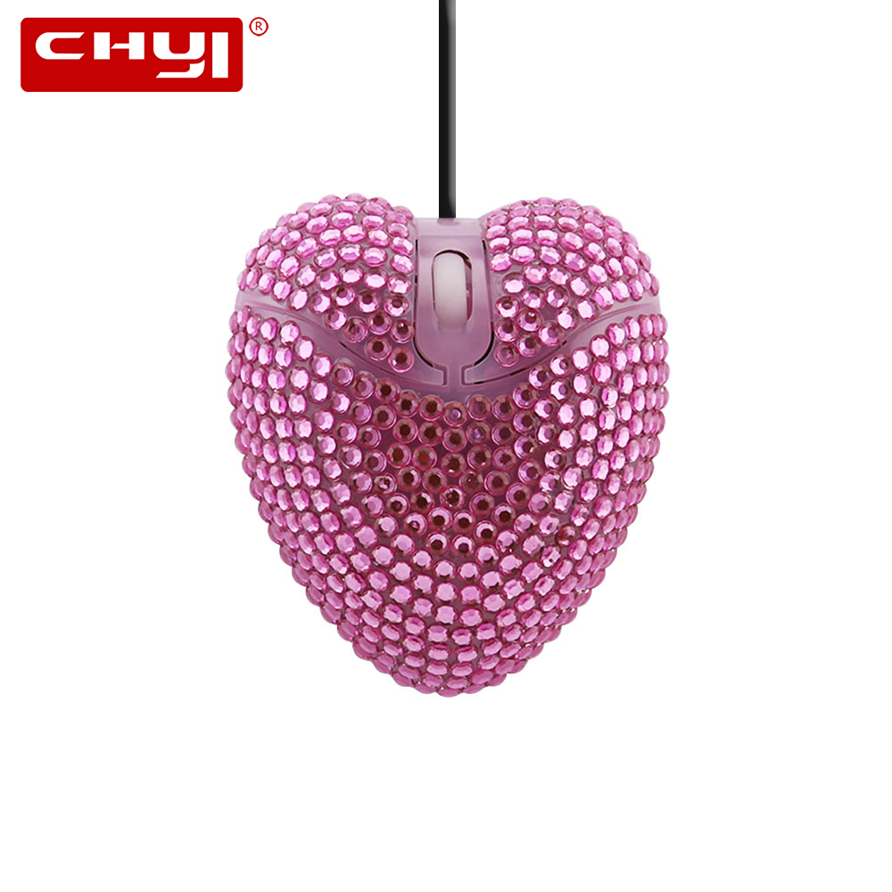 CHYI Mini Usb Cable Wired Computer Mouse Cute Love 3d Heart Shape Optical Diamond PC Mause Slim Portable Kids Gift Mice For Girl