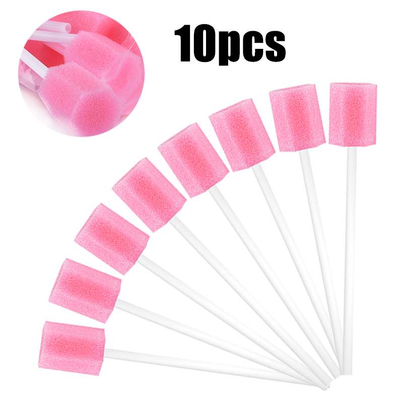 10pcs Pink Oral Foam Swabs Mouth Cleansing Rods Hexagonal Shape Foam Sputum Sponge Sticks Oral Care Tools For Oral Medical Use