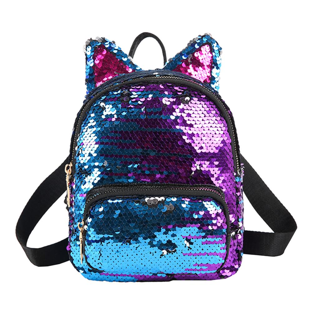 Cute Sequins Backpack Fashion Lady Cat Ears Sequin School Backpack Travel Satchel Girls Student Panelled Zipper Backpack Mochila