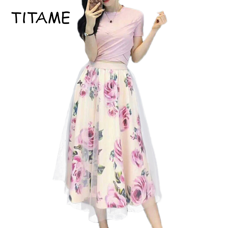 TITAME Women Irregular T Shirt Mesh Skirts Suits Woman Two Piece Dress Set Bowknot Vintage Floral Skirt Sets Elegant Skirt Set