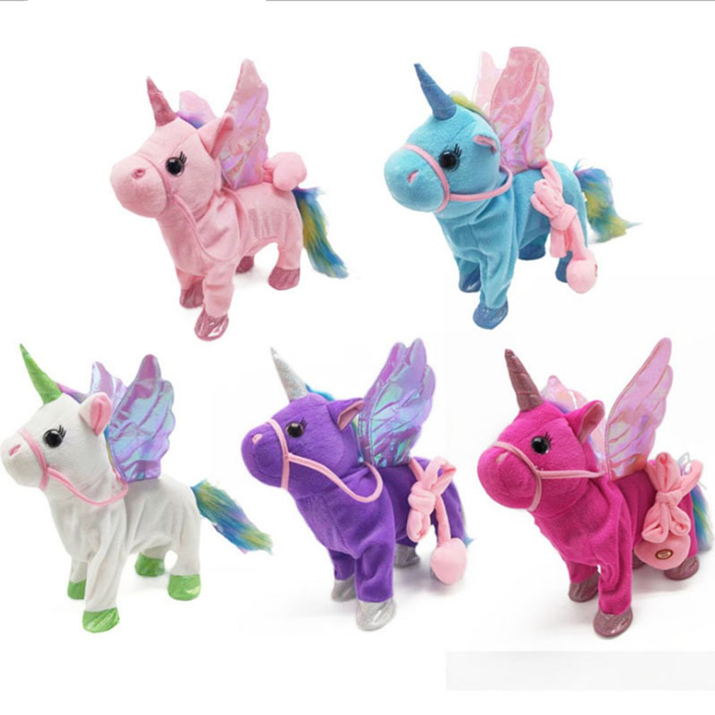 Cute Unicorn Doll Leash Flying Horse Can Walk Can Sing Plush Dolls For Electric Unicorn Plush Toy Child Birthday Gift in Electronic Plush Toys from Toys Hobbies