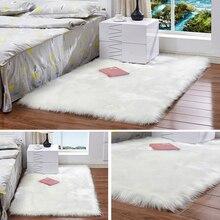 Белый модный ковер для спальни с длинными волосами, мохнатый, шелковистый, плюшевый ковер из искусственного меха, прикроватные коврики, прямоугольные ковры из овчины с мехом