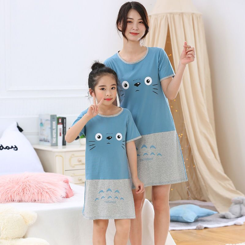 New Fashion Girl Nightgown Summer Children's Pajamas Cartoon Totoro Unicorn Nightdress Kids Girls Sleepwear Nightwear Sleepshirt