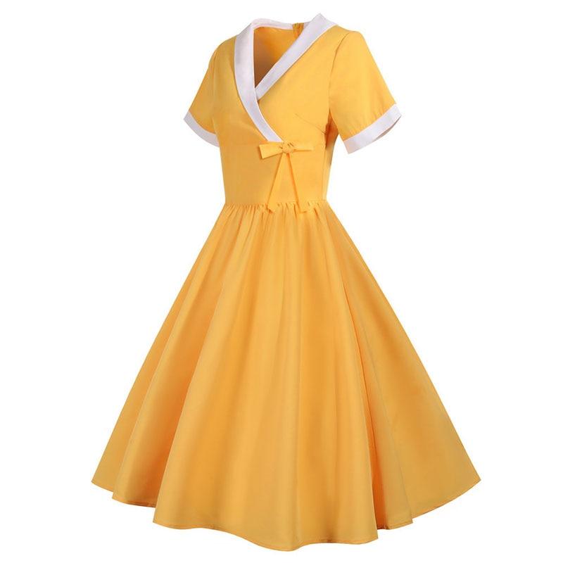 Yellow Bow V Neck Elegant Office Party Dress Women Summer Vintage High Waist Swing A-line Midi Sundress Plus Size Robe Femme 2