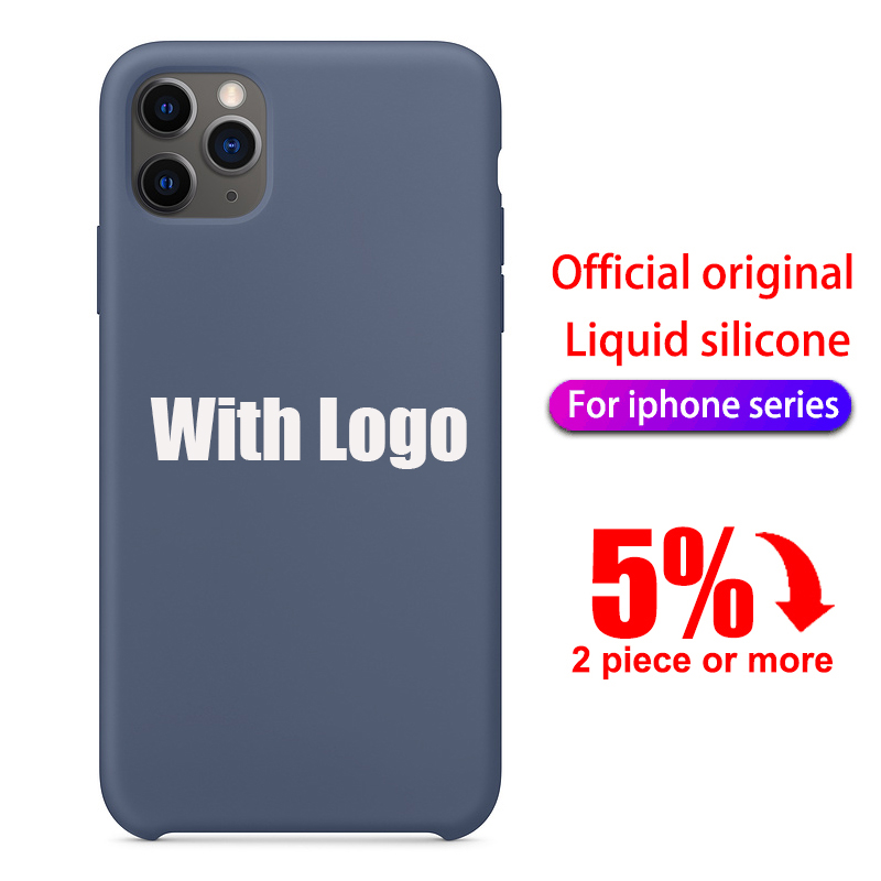 With LOGO Original official Silicone Case For iPhone 11 pro max case For apple iphone x xr xs max 7 6 6s 8 plus se 2020 Cover