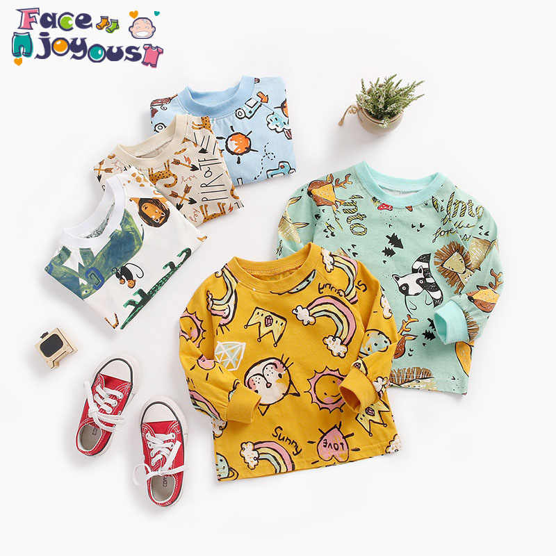 Baby Boys Girls T Shirt Girls Cotton Autumn Spring Long-sleeved T-shirt Girl's Cute Cartoon Tee Children Fashion Tops