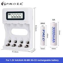 뜨거운! 지능형 4 슬롯 스마트 LCD 배터리 충전기 AA / AAA NiCd NiMh 충전식 배터리 용 충전식 USB 충전기