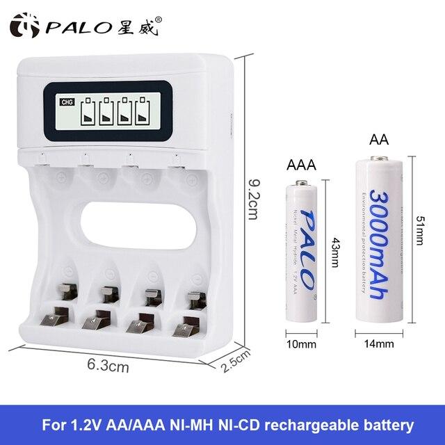 حار! ذكي 4 فتحات الذكية LCD شاحن بطارية USB قابل لإعادة الشحن شاحن لبطاريات AA / AAA NiCd NiMh قابلة للشحن
