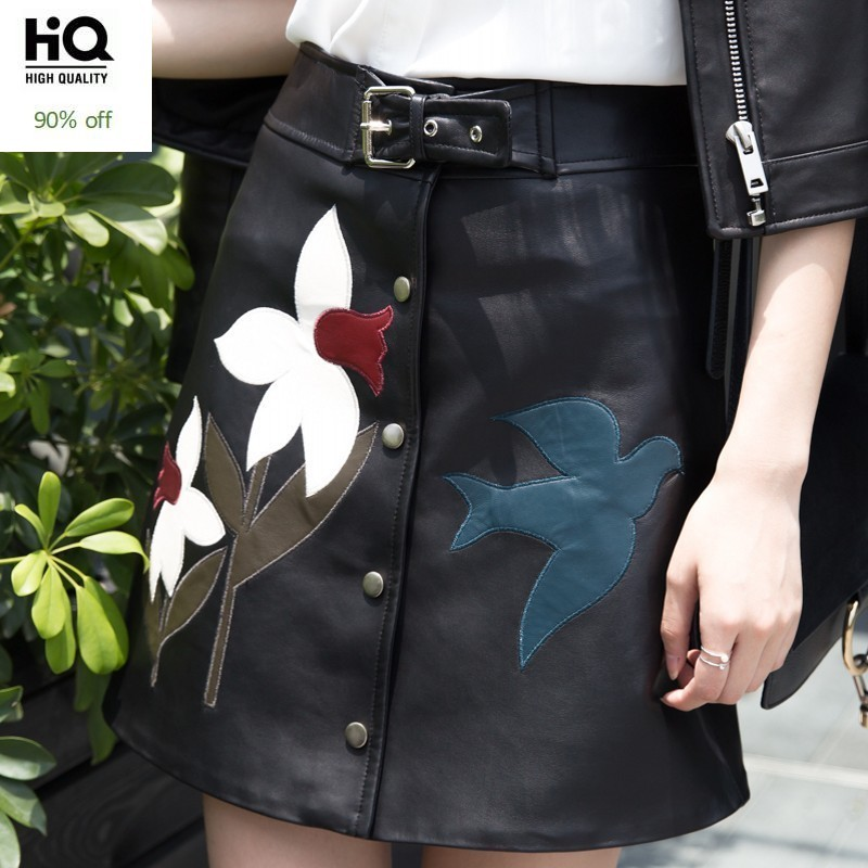 Vintage Womens Embroidery A Line Sheepskin Real Leather Skirt Casual Streetwear Office Ladies Single Breasted Belt Mini Skirt