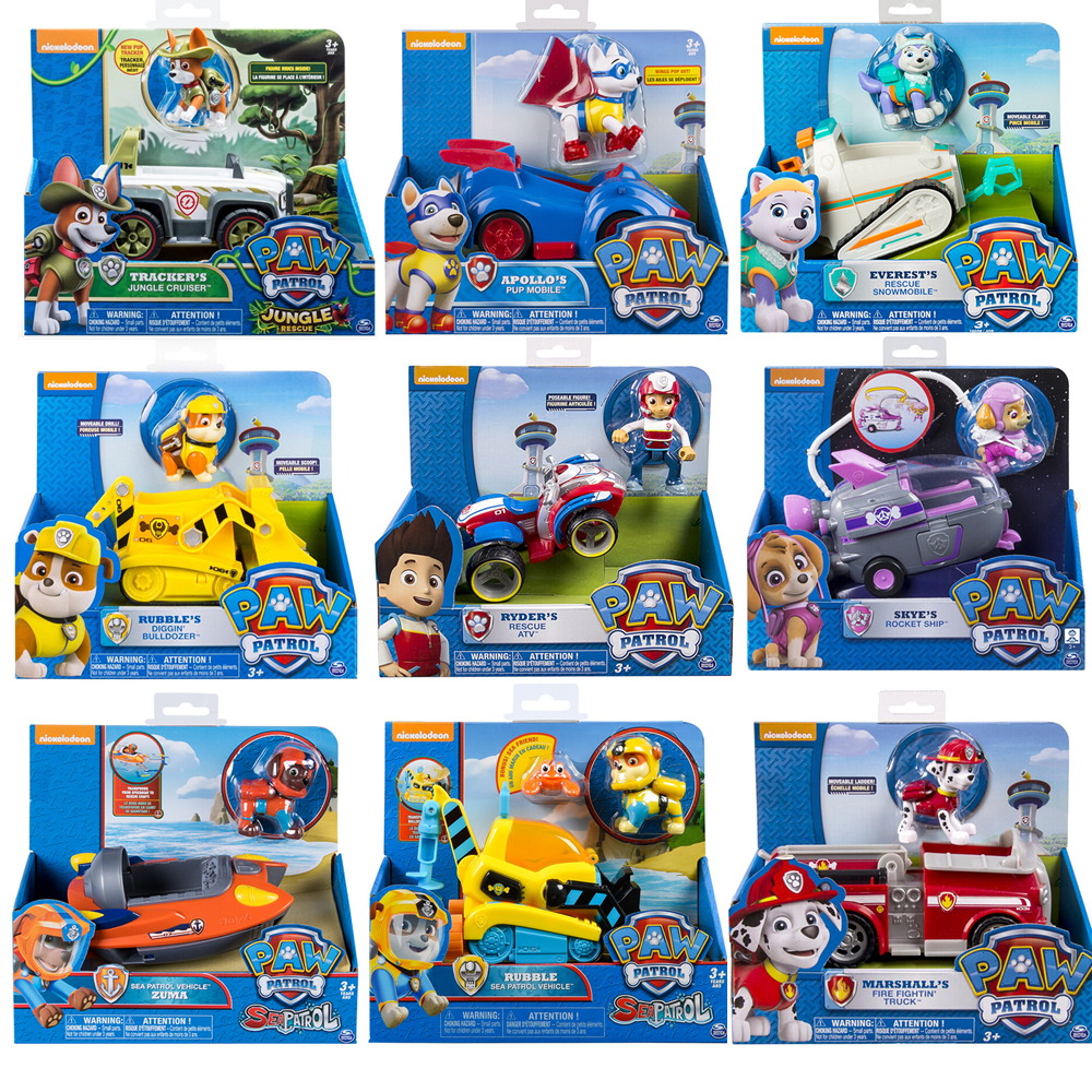 Genuine Paw Patrol Vehicle Rescue Series Anime Apollo Tracker Everest Puppy Patrol Car Action Figure Paw Patrol Kid Birthday Set