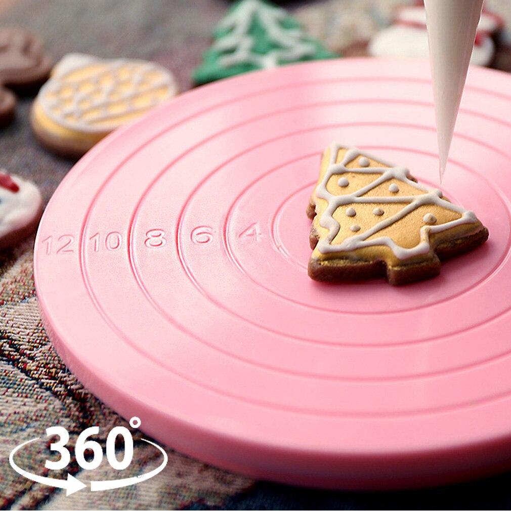 360° Cake Plate Turntable Rotating Anti-skid Round Cake Stand Kitchen DIY Revolving Cake Decorating Rotary Table Baking Tool