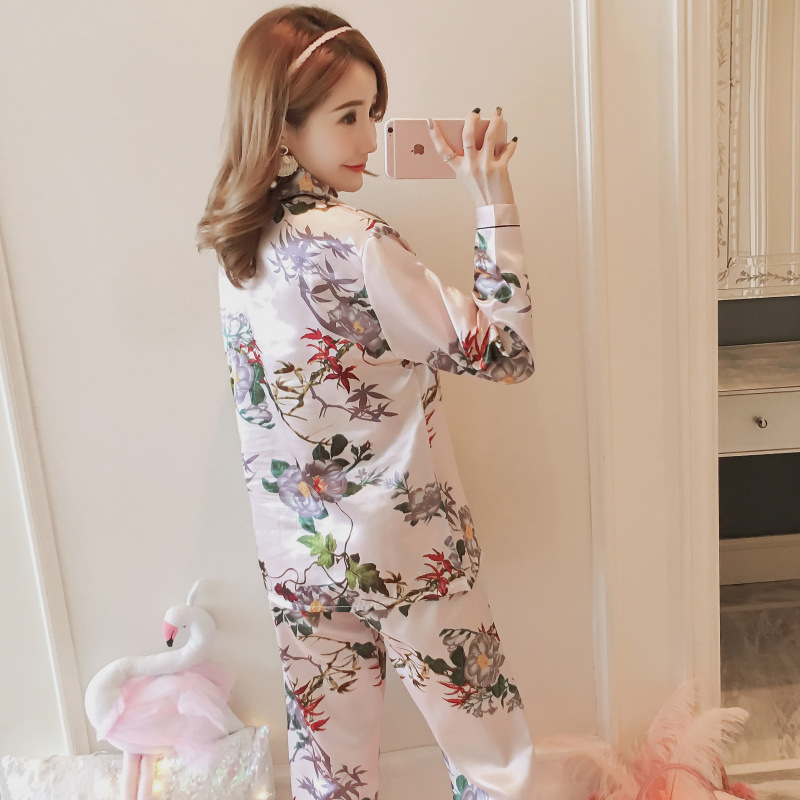 Pajamas Women's Spring And Autumn Long Sleeve Trousers Korean-style Large Size Imitated Silk Fabric Sexy Summer Cardigan Two-Pie
