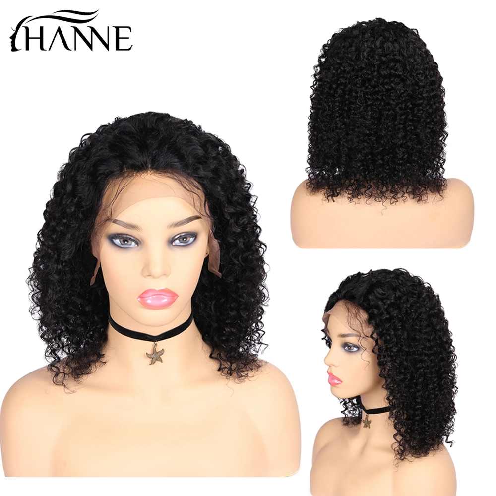 HANNE Brazilian Remy Hair Wigs 13*4 Lace Front Human Hair Wigs Curly Wig For Black Woman 150% Density Closure Wigs Natural Black