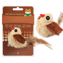 Pets Cat Interactive Toy Electronic Squeaky Plush Bird Shaped Doll Teaser Toy Wi
