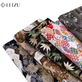 Японское кимоно из ткани черного цвета из хлопка с принтом «сделай сам ткань для пошива платья или лоскутное Материал TJ1023