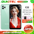 OUKITEL C22 4 Гб 128 Android 10,0 MT6761 4 ядра смартфон 2.5D Стекло крышка 13MP тройной Камера 5,86 ''4G мобильный телефон