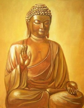 Hand-Painted Buddha Canvas Wall Décor Oil Painting Sitting with Hand up Wall Paintings Home Decor Wall Art