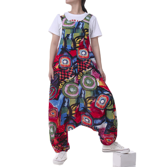Plus Size ZANZEA Summer Overalls Women Vintage Sleeveless Floral Printed Harem Jumpsuits Rompers Pants Femme Playsuits Dungarees 3
