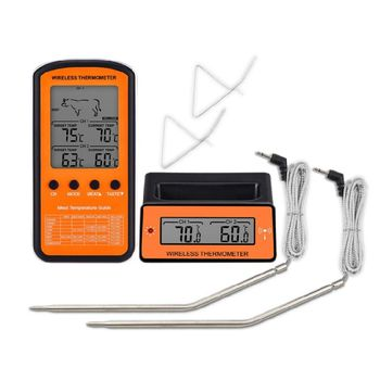 Wireless Food Temperature Meter LCD Display Dual Probe 8 Modes for Grill Oven Electronic Food Barbecue Thermometer