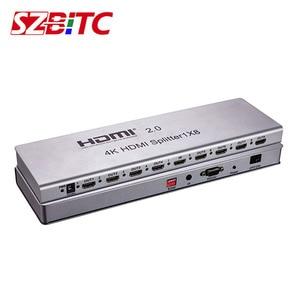 SZBITC HDMI 2,0 разветвитель 1x4 1x8 4 k @ 60 Гц 1 в 8 Выход HDMI разветвитель конвертер с EDID RS232 ИК удлинитель для ПК DVD tv