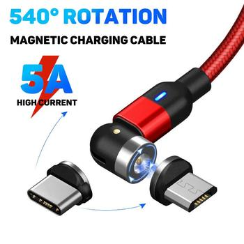 Magnetic 5A Fast Charging Cable Micro USB Type-C Plug Data Cord for Android image