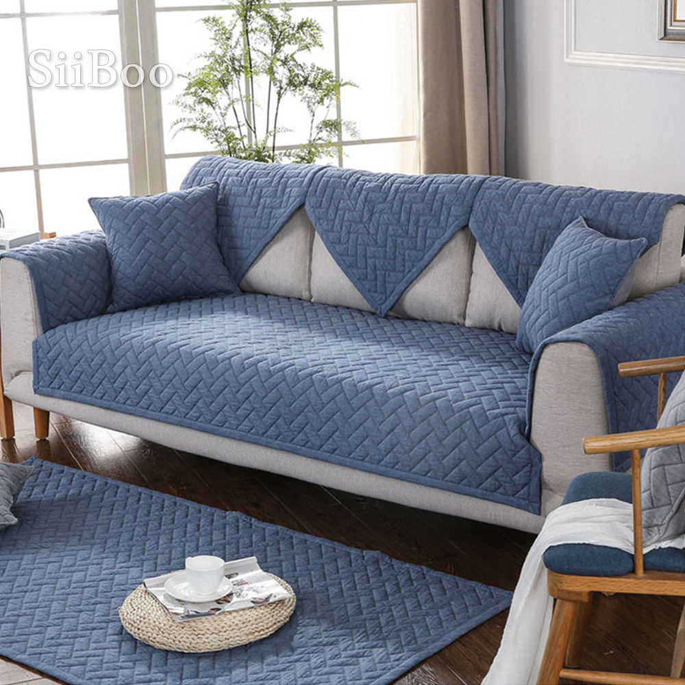 modern style blue quilted sofa slipcovers cotton sectional sofa cover fundas de sofa couch covers cama for living room sp4885