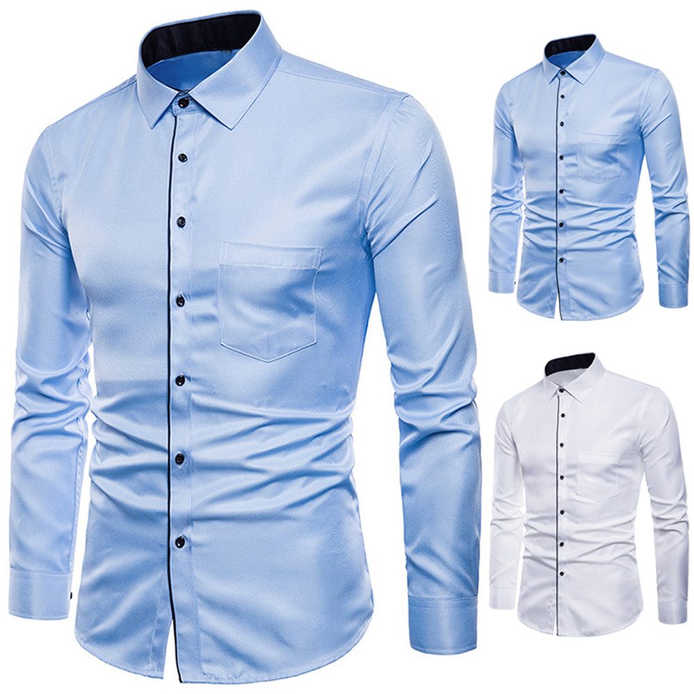 Shirt Mens Long Sleeve Oxford Formal Casual Suits Slim Fit Tee Dress Shirts Blouse Top Fashion Men Slim Fit  Business Shirts