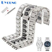 Bracelet de montre en métal pour Swatch YGS716 YVS441G/YAS112G, en acier inoxydable + céramique bracelet de montre, 17mm, pour femmes