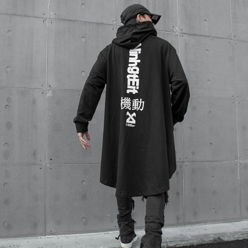 New Autumn Western Streetwear Darkly Style Individuality Back Print Fashion Men 39 s Hooded Mid Length Sweatshirts Hip Hop Hoodies in Hoodies amp Sweatshirts from Men 39 s Clothing