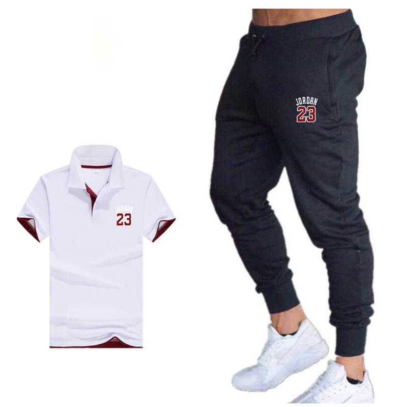 2020 two piece set mens outfit summer sport suit polo shirt track pants tracksuit men casual <font><b>jordan</b></font> <font><b>23</b></font> t-shirt jogging male set image