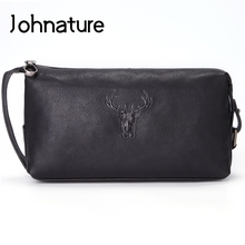Johnature Fashion Multi-function Genuine Leather Men Clutch Bag 2020 New Retro Travel Wash Bag Black Soft Cowhide Hand Bag