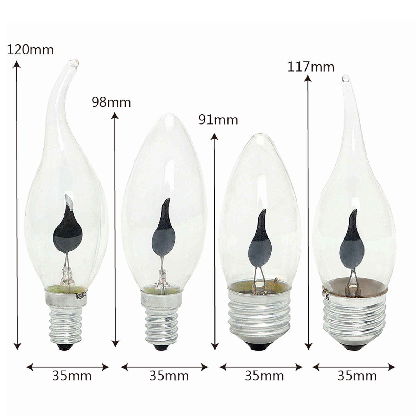 Vela LED de punta de llama, luz parpadeante de fuego natural simulado E14 E27 3W, bombilla de filamento Vintage Bar Pub lámpara de decoración del hogar 220V