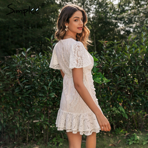 Image 5 - Simplee Women summer lace dress Sexy v neck floral summer cotton white dress A line ladies chic spring drawstring party dress