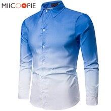Gradient Shirts Men Dress Luxury Brand Casual Business Slim Fit Long Sleeve Part