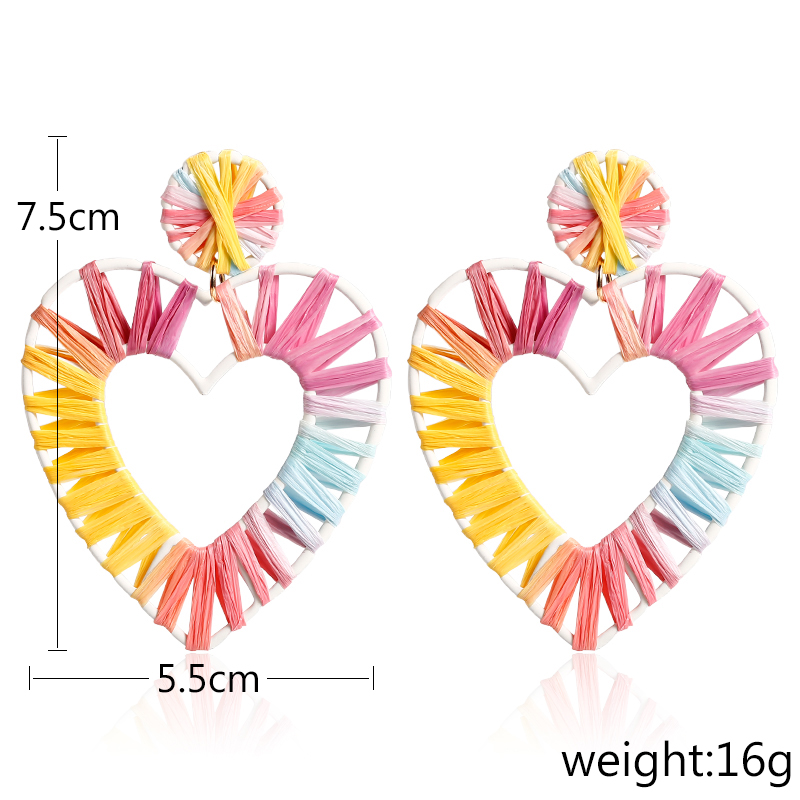 HOCOLE Geometric Earrings Statement Fashion Rainbow Colorful Big Heart Raffia Drop Earrings For Women Handmade Jewelry Wholesale in Drop Earrings from Jewelry Accessories
